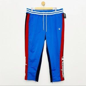 Champion Women's NWT Blue Red Striped Crop Jogger